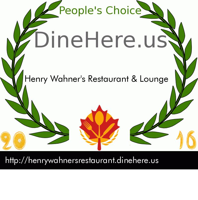 Henry Wahner's Restaurant & Lounge DineHere.us 2016 Award Winner